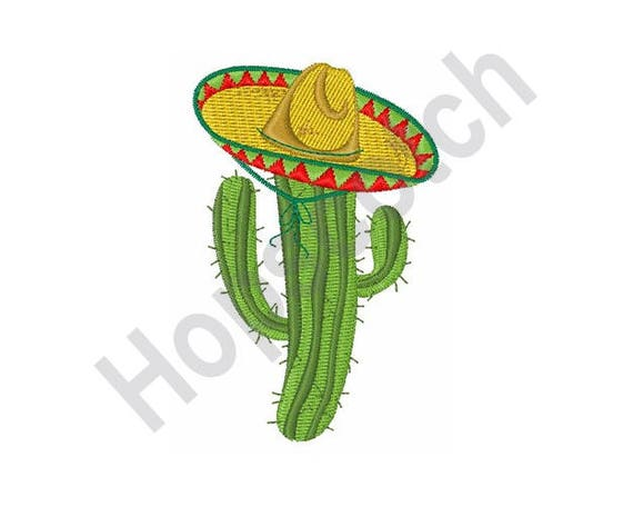 Cactus sombrero machine embroidery design from