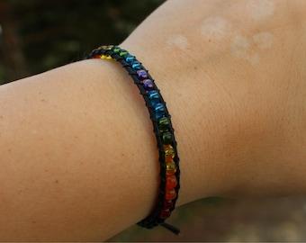 Rainbow Pride Leather Wrap Bracelet - Pride Jewelry - Gay Pride - Leather Bracelet - LGBTQ - Wrap Bracelet - Stackable Bracelet