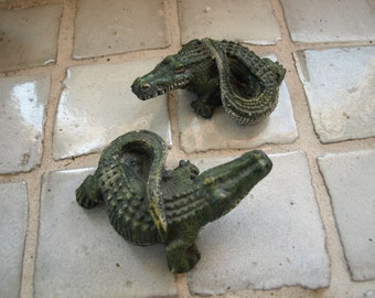 "Two Small Cement Hand Painted Crocodiles/ Alligators -5"" long x 2"" high"