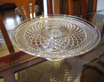 Vintage Pedestal Cake Stand – Clear Glass Cross Hatch Pattern