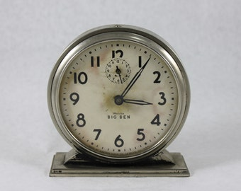 Working Big Ben Westclox Chime Alarm Clock / Nickel Finish / vintage from 1941