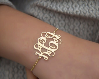 Initial Monogram Bracelet: 1.2 inch - Personalized Monogram - - monogram jewelry - 18K Gold Plated - 3 letters typography jewelry