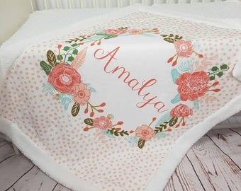 Personalized baby blanket - monogram blanket - baby name blanket - personalized blanket - custom blanket - baby girl blanket- baby name gift