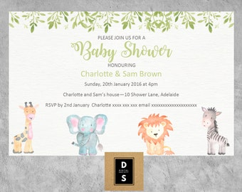 baby shower, invitation, boy, girl, neutral, printable, watercolor, lion, elephant, games, books for baby, jungle, green
