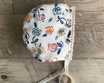 Baby bonnet/reversible bonnet/grey  bonnet /brimless baby bonnet/cotton lace baby bonnet/summer bonnet