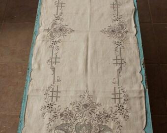 Long Table Runner, Vintage, Greek Needlework & Cutwork, ca. 1950's Handmade, Ecru/Pale Gray, 16'' x 44''