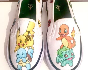 Children's Pokemon Hand painted or transfer canvas shoes