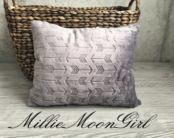 All Minky Pillow Cover in Charcoal Arrows  Crib Pillow Child Pillow Nap Pillow Toddler Pillow