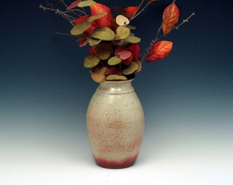 Wheel-thrown stoneware pottery vase.