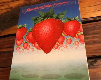 Vintage Beatlegraphics Beatles Greeting Card Strawberry Fields Forever Lyric Art