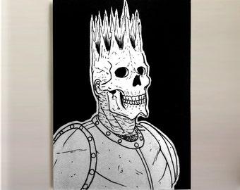 "Knight Skeleton - Original ACEO/ATC Illustration 2.5x3.5"""