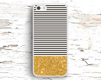 Gold Glitter Black Stripes, iPhone 7 6S 6 SE 5S 5 5C 4S, Samsung Galaxy S6 Edge S5 S4 S3, LG G4 G3, Sony Xperia Z5 Z3, HTC One M8