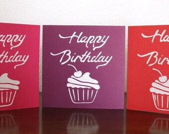 Cute little cupcake Birthday card. 100% hand cut. FREE UK P+P!