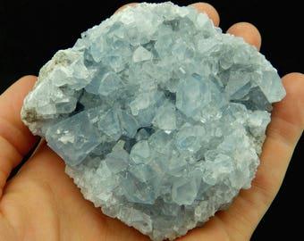 Large Celestite / Celestine Geode (492 grams, Madagascar) Natural Blue Crystal Cluster, Large High Quality Blue Anhydrite Specimen #CELES7