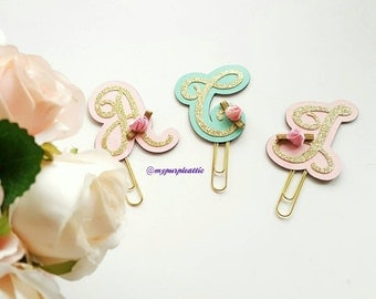 Letter/Initial with Rose Bud Planner Paper Clip
