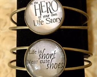 Sayings Antiqued Bronze Adjustable Bracelets