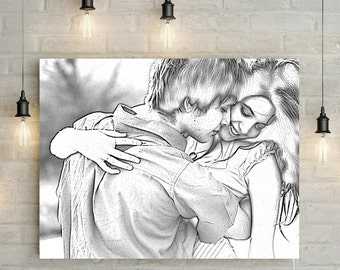 Custom Couples Portrait - Anniversary Gift, Digital Pencil/ Drawing Effect, Personalized Canvas or Printable