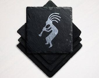 Laser Engraved Slate Coaster Kokopelli Southwest Fertility Deity Hopi Indians