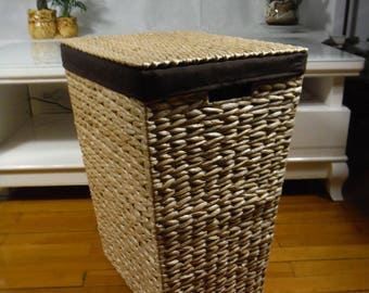 Straw laundry basket/handwoven storage basket /rectangular straw hamper with lid/rustic/natural/eco friendly/home decor
