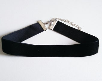 Thick Black velvet choker | wide black choker | 90s choker | choker necklace | 2 cm 3/4 inch choker