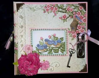 Pre-made 8 x 8 Scrapbook Album-Birds and Blooms