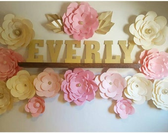 Paper Flower Name Decor /Backdrop