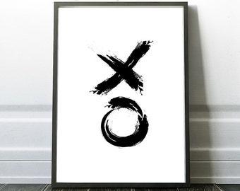 Xo print, Black and White, Minimalist Home Decor, XO Wall Art, Minimalist Printable art,  Instant Download, Minimalist Modern Prints