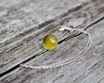 Resin necklace ball yellow feather ethnic boho