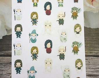 28 Chibi Planner Stickers / Lord of the Rings