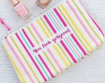 Personalised Striped Design Make Up Bag - cosmetic bag - personalized makeup bag - beauty bag - gift for daughter - girl's makeup bag