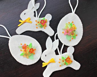 Easter ornaments, bunny egg, felt ornaments, bead embroidery, set of 4, READY TO SHIP