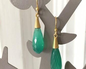 NAGPUR - Green Onyx earrings