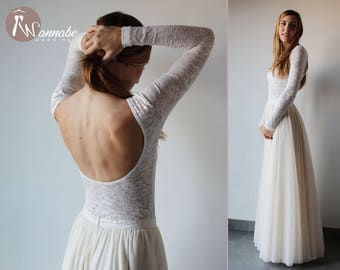 Two pieces wedding dress: lace top with long sleeves and low back + tulle skirt, separate wedding dress, customized size, crochet pattern