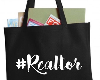 Hashtag Realtor Black Canvas Tote Bag