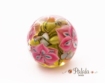 Focal lampwork bead with flowers, lampwork floral beads