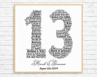 personalized 13th anniversary gift word art printable art unique anniversary gift 13