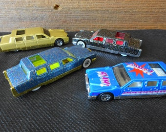 Vintage Fleet of Four 1990 Hot Wheel Cadillac Continental Stretch Limousine Like New