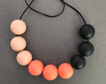 Peach, salmon and black silicone beads mummy necklace