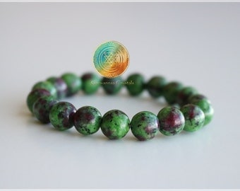 Ruby Zoisite Bracelet, 8mm Genuine Natural Ruby Zoisite Bracelet, Gemstone Stretch Bracelet, Womens /Men's  Bracelet,Beaded Jewelry,Anyolite