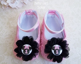 Pink Minnie Mouse Birthday Outfit, Pink Minnie Mouse Birthday, Minnie Mouse 1st Birthday Outfit, Minnie Mouse Shoes, Minnie Mouse Birthday