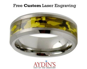 Beveled Edge with Army Green Camouflage Inlay 8mm Tungsten Carbide Wedding Ring