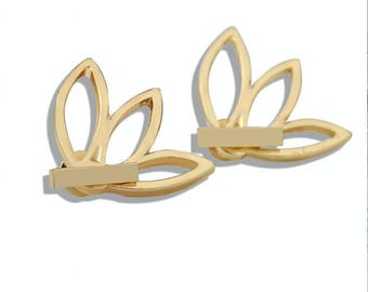 18 K gold plated earrings leaf flower