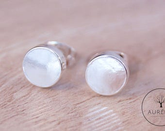 "Silver plated ear studs ""Plate"" smooth"