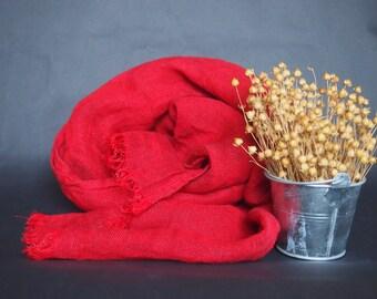 Linen Bright Red Scarf, Linen Women Accessories, Linen Gift
