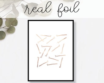 Bobby Pins Print // Real Gold Foil // Minimal // Gold Foil Art Print // Home Decor // Modern Office Print // Typography // Fashion Print