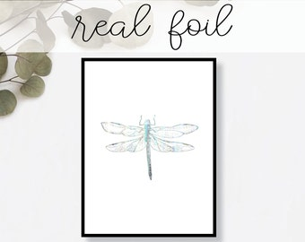 Dragonfly Print // Real Gold Foil // Minimal // Gold Foil Art Print // Home Decor // Modern Office Print // Insect Nature // Fashion Print