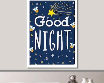 Goodnight Stars Nursery Print // Minimalist Poster // Wall Art Poster // Nursery Poster // Floral Poster // Minimal Poster