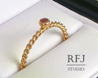 Braided Garnet Rose Gold Ring Dark Red, 2mm CZ 14K Rose Gold Plated January Birthstone Rope Ring Lab Garnet Gold Ring Twisted Rose Gold Ring