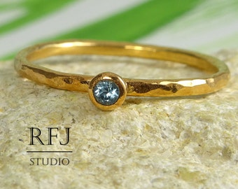 Rose Gold  Natural Swiss Topaz Hammered Ring, 14K Gold Plated December Birthstone Ring, 2 mm Round Swiss Blue Topaz Rose Gold Stack Ring