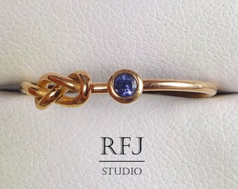 Natural Iolite Infinity Knot Rose Gold  Ring, Eternity Knot 14K Gold Plated Ring 2mm Round Cut Iolite Ring Blue Stone Double Knot Ring